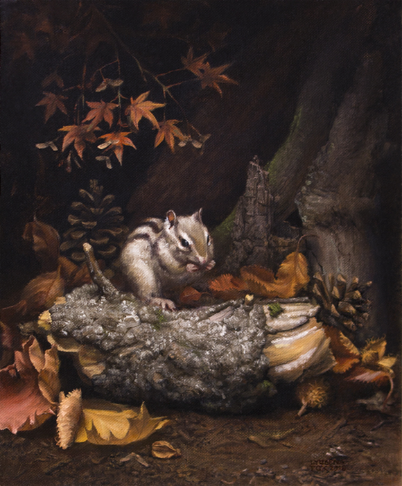 Autumn Chipmunk still lfie [Oil on canvas] 2016