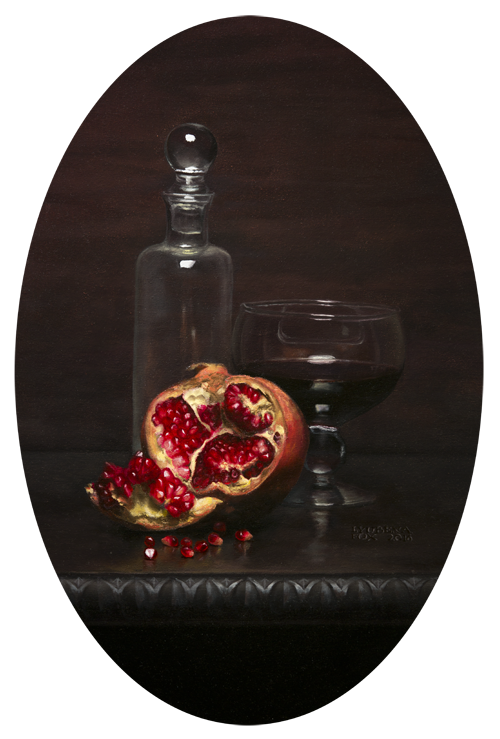 Pomegranate and Glass Still Life [Oil on panel done from live setup]  2016