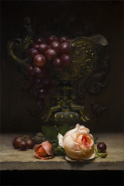 Rose and Grapes still life [Oil on canvas done from live setup] 2016